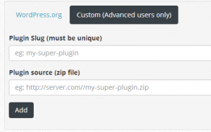 Screen for adding a custom plugin on wpcore.com
